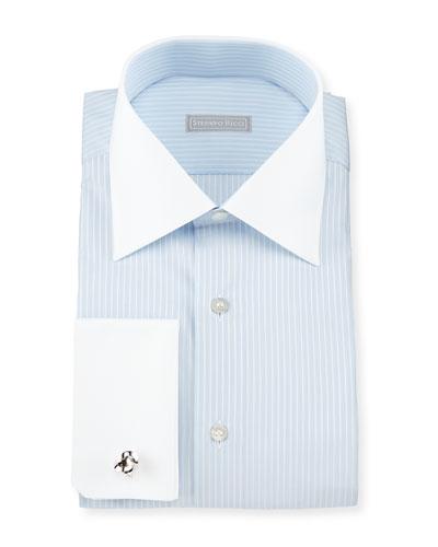 Contrast-Collar Stitch-Striped French-Cuff Dress Shirt, Blue