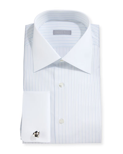 Contrast-Collar Striped French-Cuff Dress Shirt, Blue
