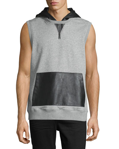 Sleeveless Hoodie W/Leather Accents, Gray