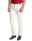 Tennis Court Five-Pocket Twill Pants, White