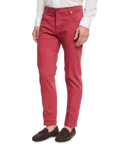 Twill Five-Pocket Pants, Watermelon Red