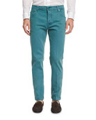 Twill Five-Pocket Pants, Seafoam Green
