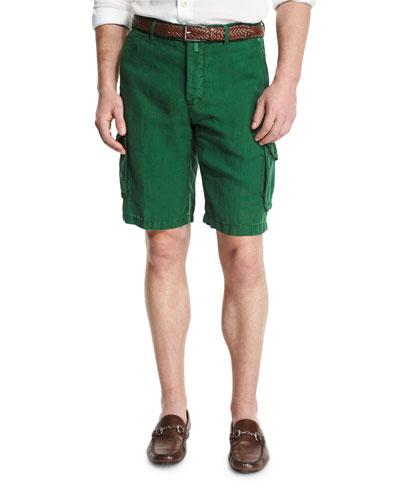 Linen Cargo Shorts, Green