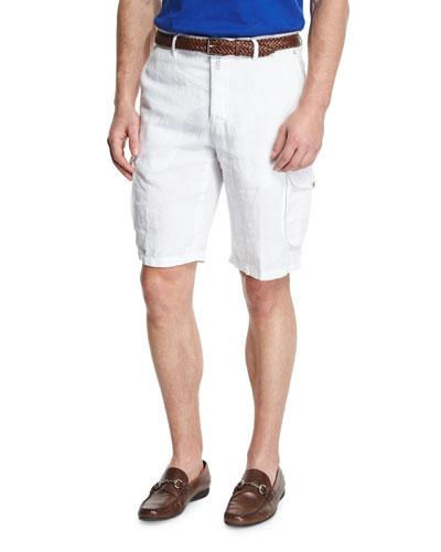 Linen Cargo Shorts, White