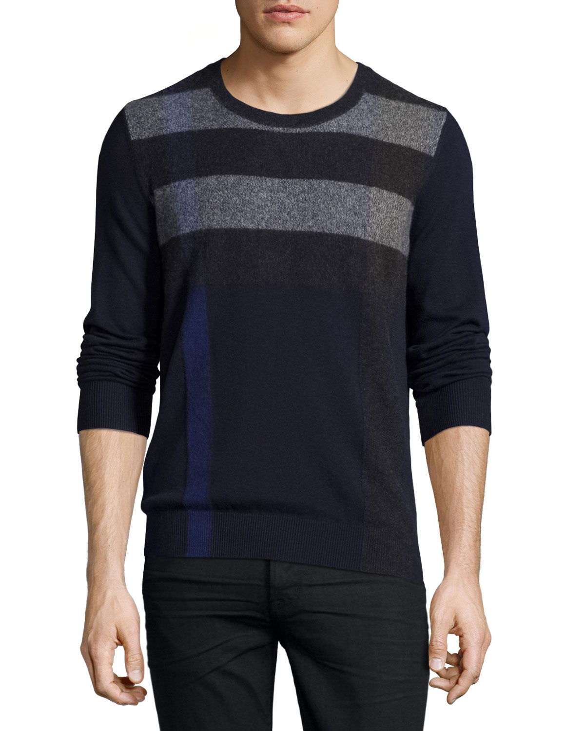 Feldon Graphic Check Cashmere-Cotton Sweater, Navy