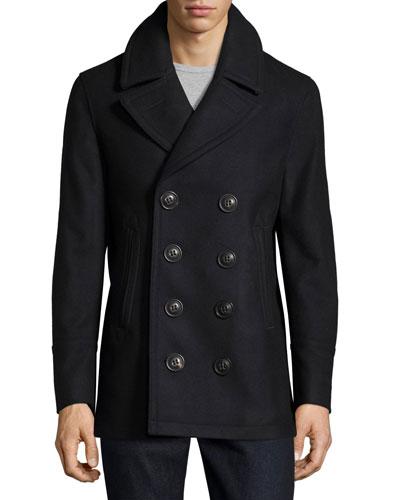 Iconic Wool-Blend Pea Coat, Navy