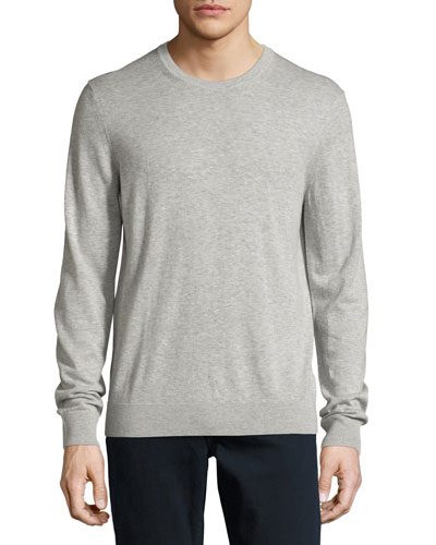 Richmond Check-Patch Cashmere-Blend Sweater, Pale Gray Melange