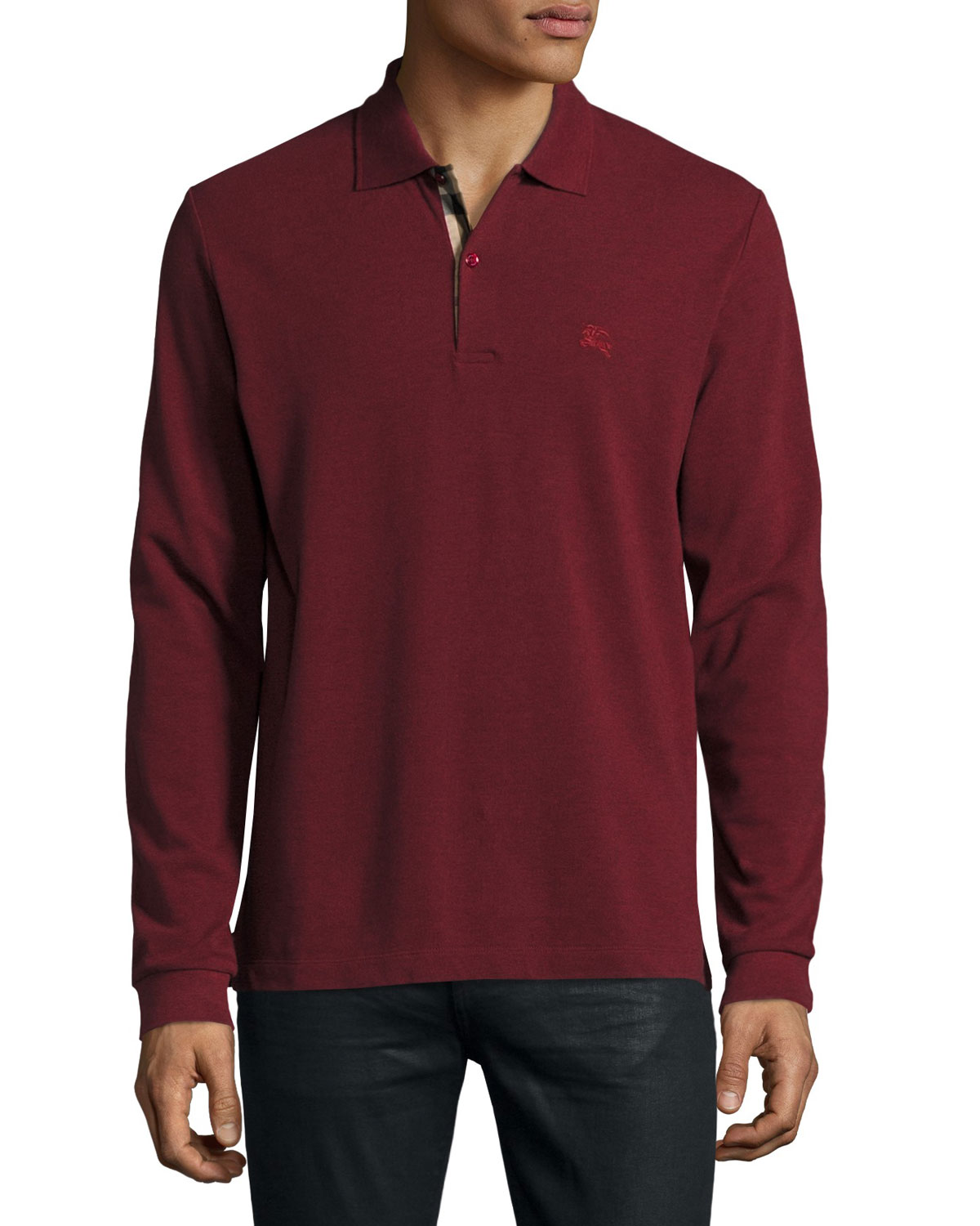Long-Sleeve Oxford Polo Shirt, Parade Red Melange