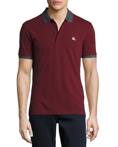 Contrast-Trim Piqué Polo Shirt, Parade Red Melange
