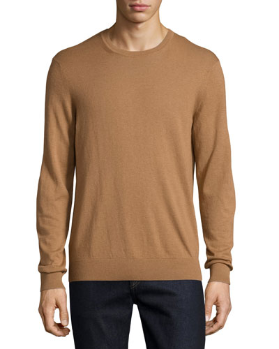 Richmond Check-Patch Cashmere-Blend Sweater, Camel