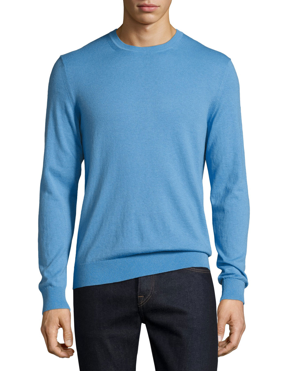 Richmond Check-Patch Cashmere-Blend Sweater, Dusty Blue