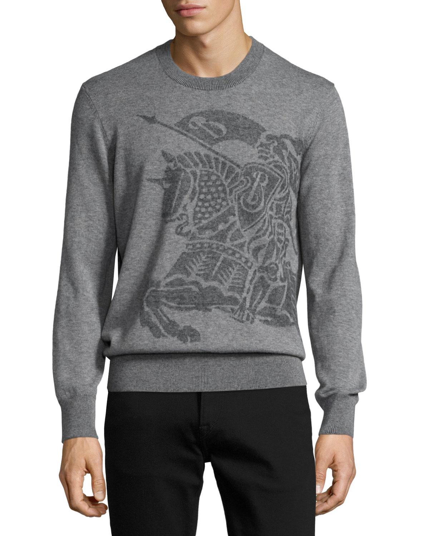 Equestrian Knight Cashmere Sweater, Light Gray Melange