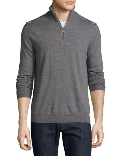 Merino Wool 1/2-Zip Sweater w/Check Shoulders, Mid-Gray Melange