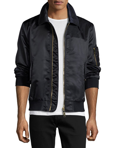 Runway Nylon Bomber Jacket, Navy