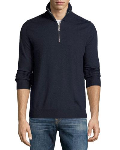 Merino Wool 1/2-Zip Sweater w/Check Shoulders, Navy