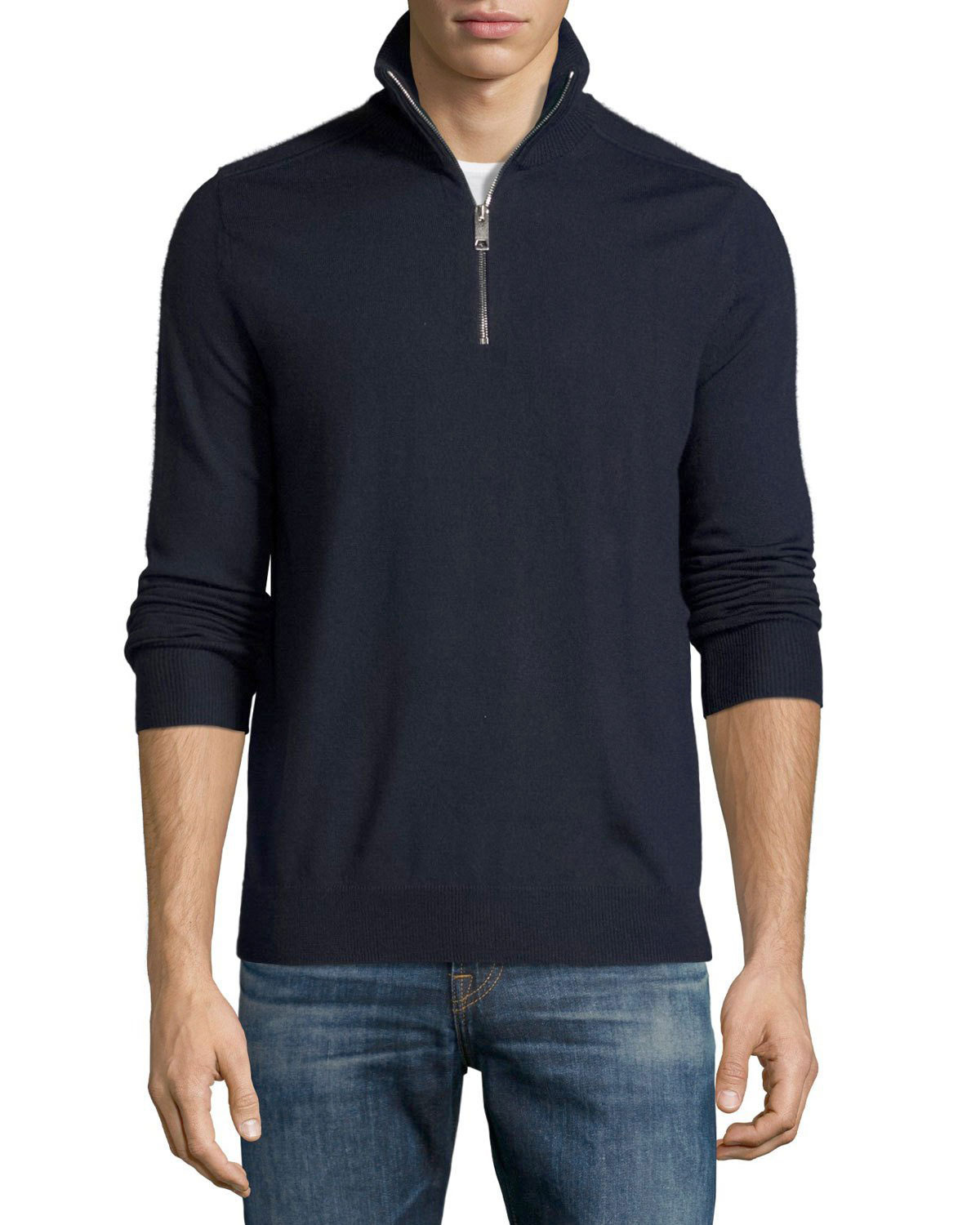 Merino Wool 1/2-Zip Sweater w/Check Shoulders, Navy