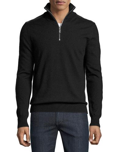 Merino Wool 1/2-Zip Sweater w/Check Shoulders, Black