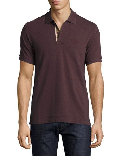 Short-Sleeve Oxford Polo Shirt, Elderberry Melange