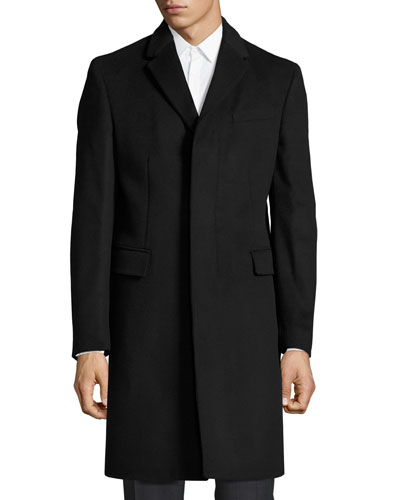 Single-Breasted Tailored Coat w/Check Under-Collar