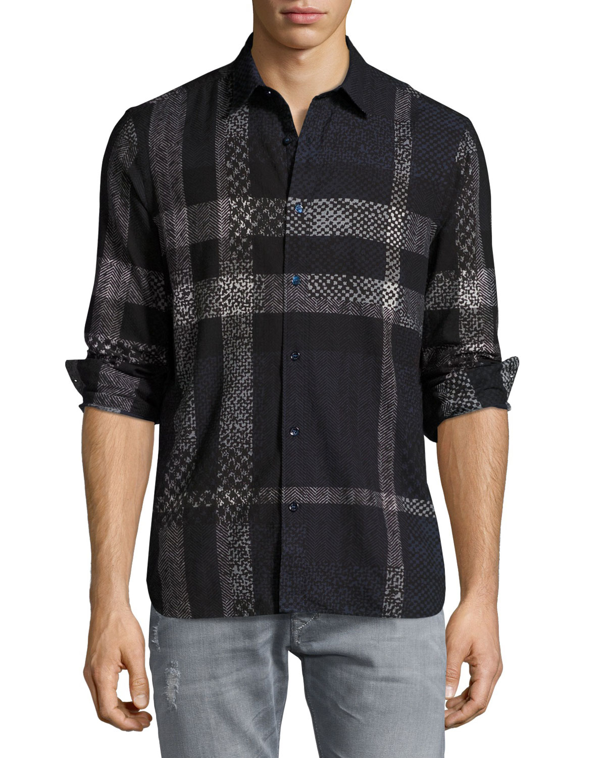 Exploded Check Woven Shirt, Navy/Gray