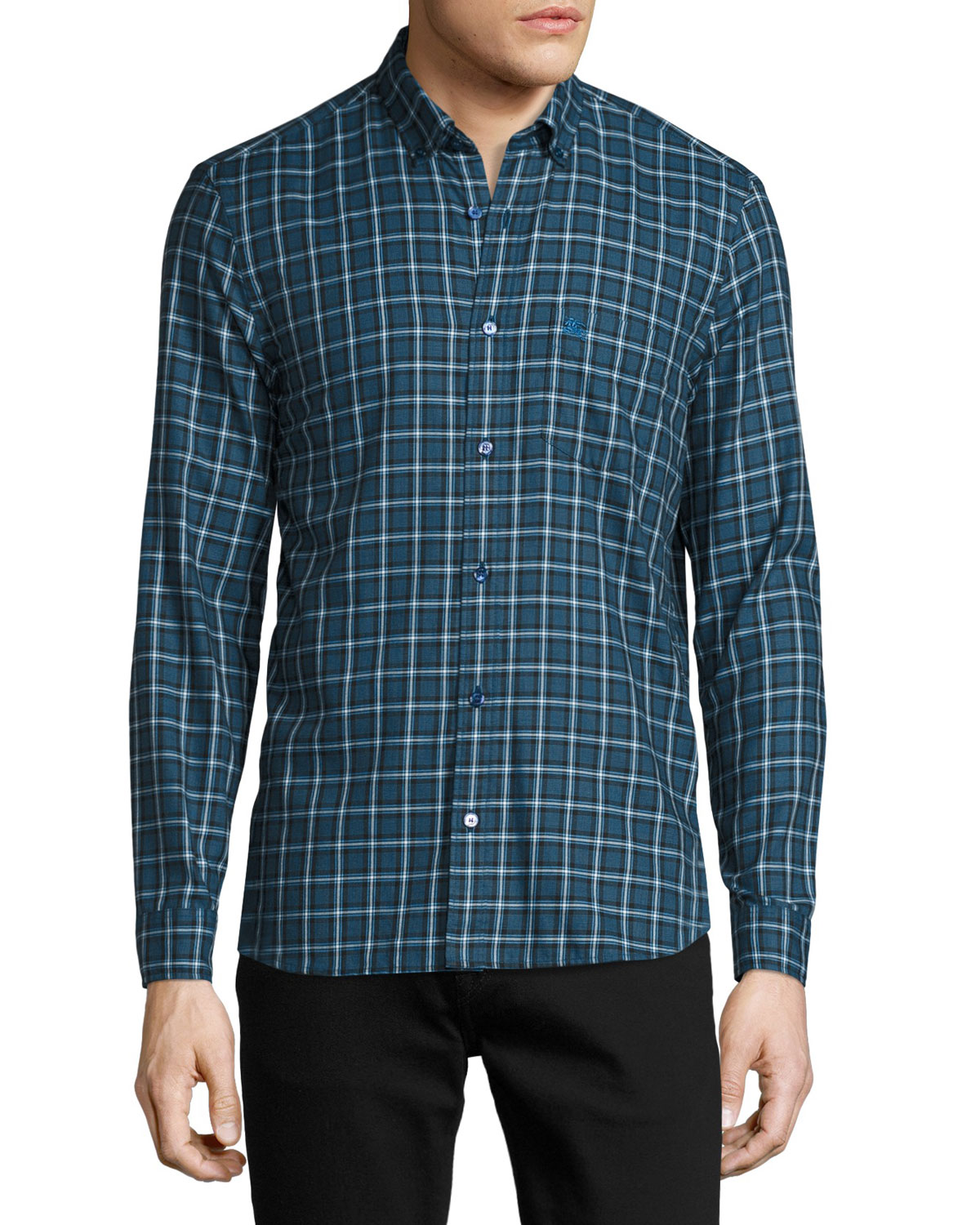 Scotson Tartan Cotton Twill Shirt, Bright Navy