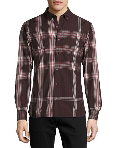 Blackrock Check Poplin Shirt, Dark Elderberry