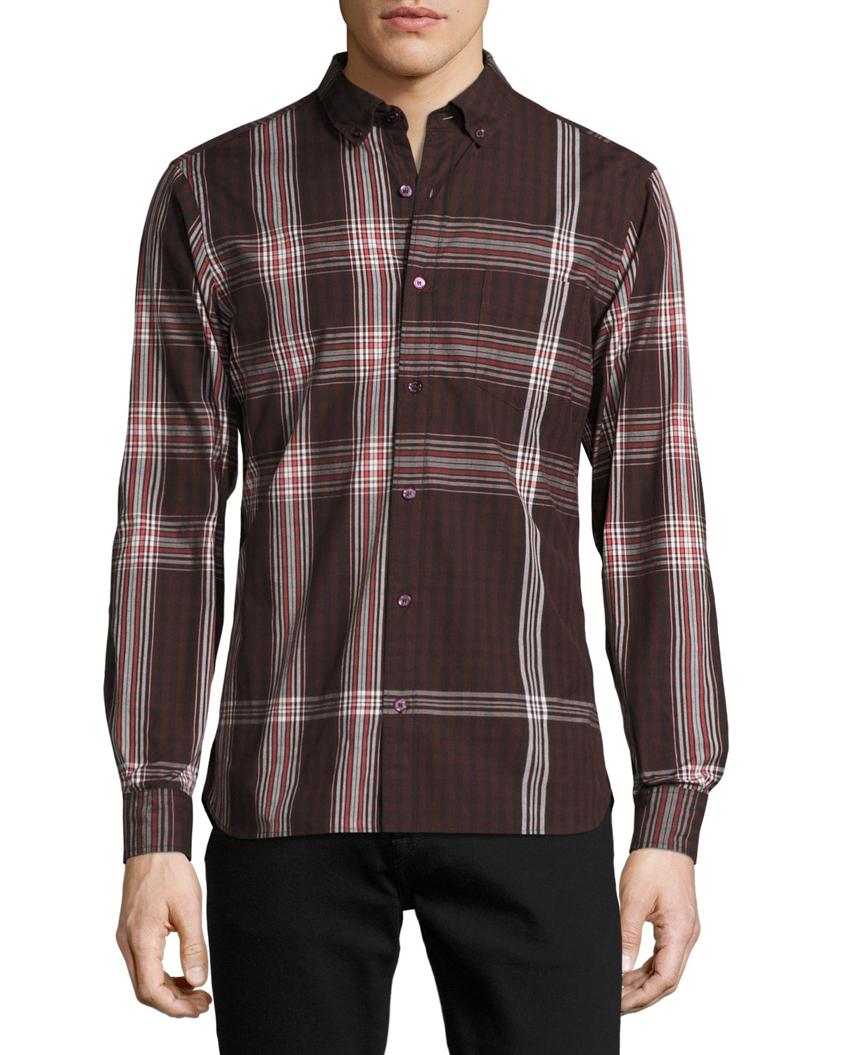 Blackrock Check Poplin Shirt, Dark Elderberry