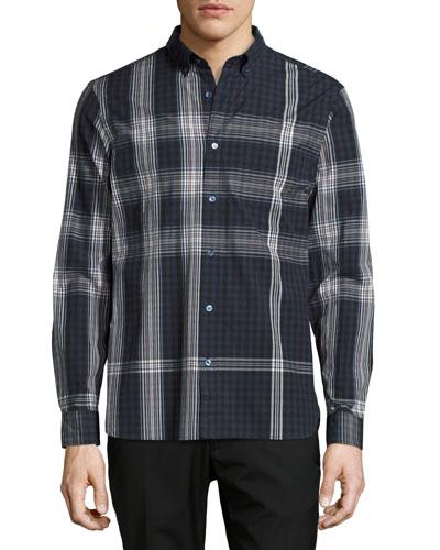 Blackrock Check Poplin Shirt, Navy Blue