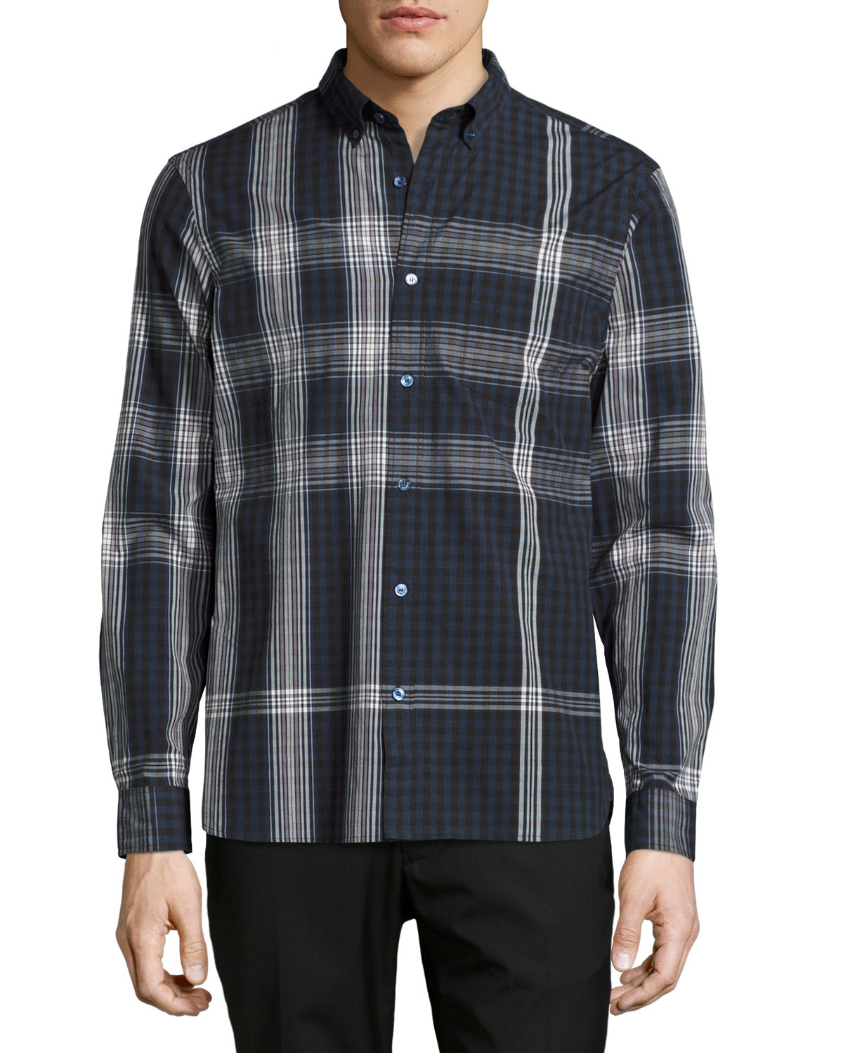 Blackrock Check Poplin Shirt, Navy Blue