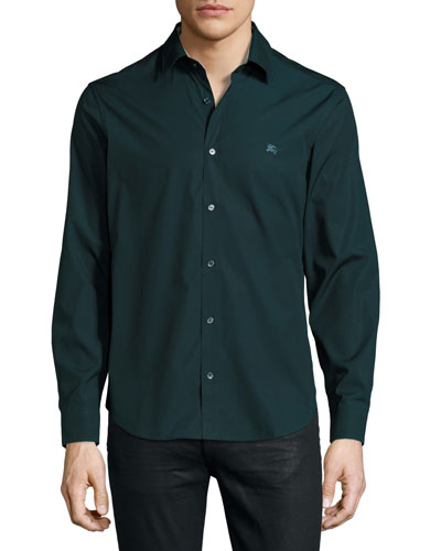 Check-Detail Stretch-Poplin Shirt, Dark Teal Green