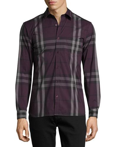 Nelson Check Stretch-Cotton Shirt, Dark Elderberry