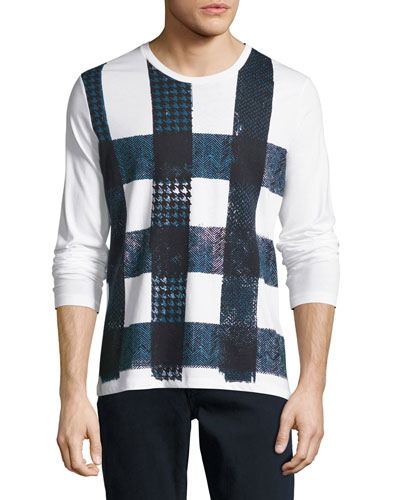 Ashby Check Graphic Long-Sleeve T-Shirt, White