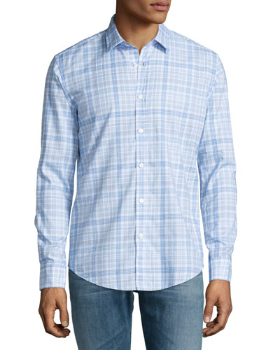 Plaid Long-Sleeve Sport Shirt, Blue