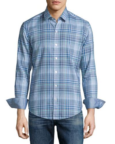 Plaid Long-Sleeve Sport Shirt, Turquoise