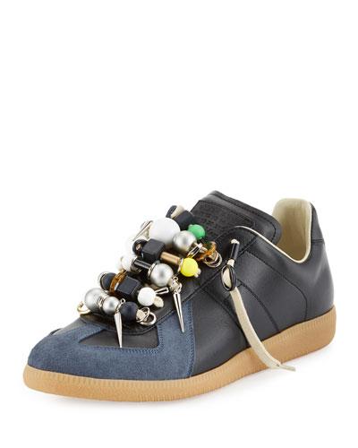 Replica Beaded Low-Top Sneaker, Black