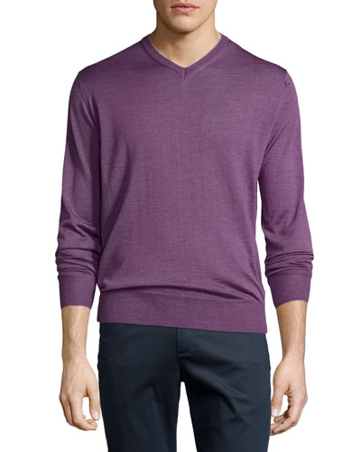 Collection Merino-Silk V-Neck Sweater, Viola