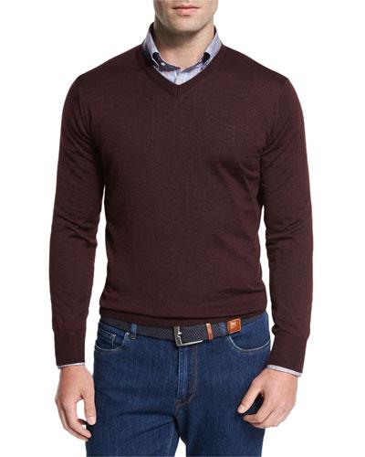 Collection Merino-Silk V-Neck Sweater, Barolo