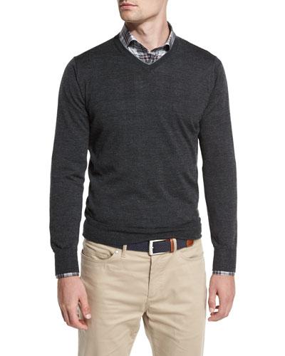 Collection Merino-Silk V-Neck Sweater, Iron Melange
