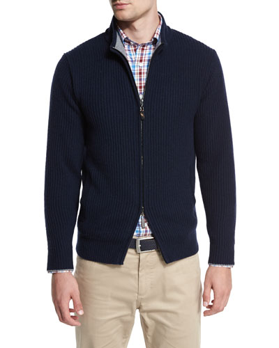 Hawthorne Cotton-Cashmere Full-Zip Cardigan, Barchetta Blue