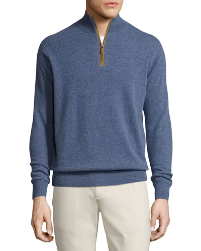 Artisan Cashmere Quarter-Zip Sweater, Blue