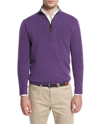 Artisan Cashmere Quarter-Zip Sweater, Argento