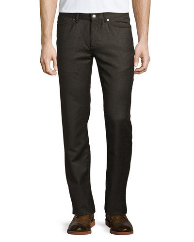 Wintertime Flannel Five-Pocket Pants, Espresso Melange
