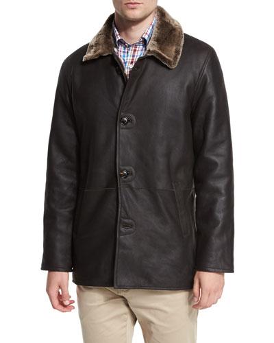 Cortina Leather & Shearling Fur Coat, Espresso
