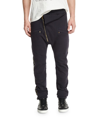 Asymmetric Zip-Front Sweatpants, Navy