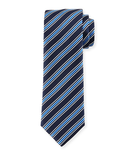 Rep-Striped Silk Tie, Navy