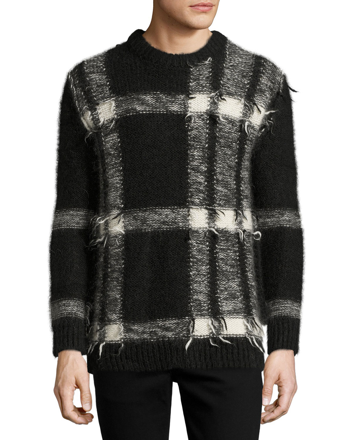 Large Check Intarsia Mohair-Blend Sweater, Black/White