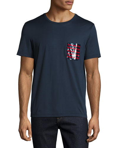 Sequined-Pocket T-Shirt, Navy