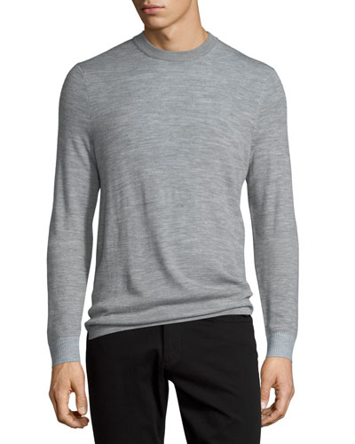 Double-Layer Crewneck Sweater, Heather Steel