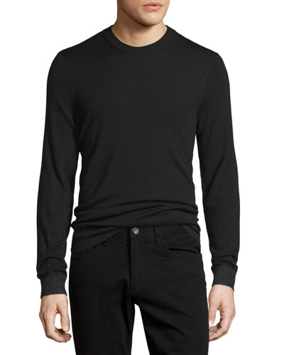 Double-Layer Crewneck Sweater, Black