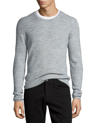 Thermal Long-Sleeve Crewneck T-Shirt, Heather Mist